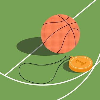Basket-ball et médaille de vainqueur sur un terrain de basket.