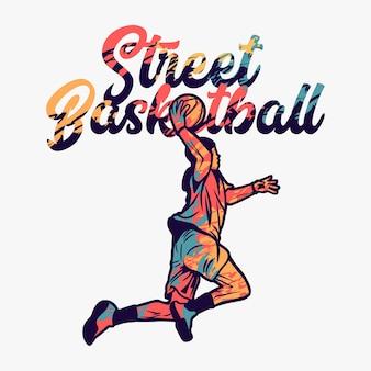 Basket-ball de rue vector illustration avec homme faisant slam dunk