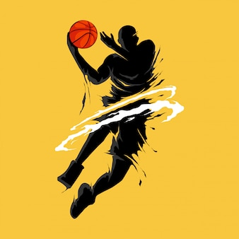 Basket-ball slam dunk flamme silhouette joueur