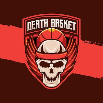 Basket-ball sport logo crâne ailes caractère icône