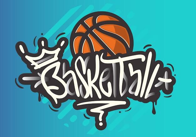 Basket-ball sur le thème de la brosse dessiné à la main lettrage type de style tag graffiti calligraphie