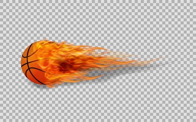 Basket-ball de vecteur en feu sur fond transparent.