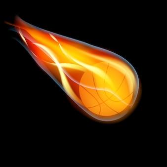Basket-ball volant en feu sur fond noir,