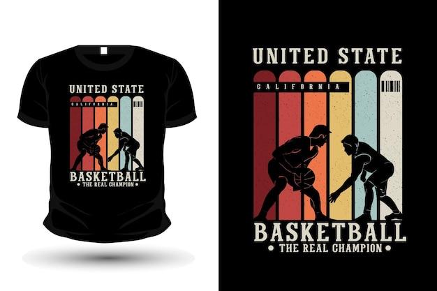 Basket-ball le vrai design de t-shirt silhouette de marchandise de champion