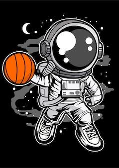 Basketball D'astronaute Vecteur Premium