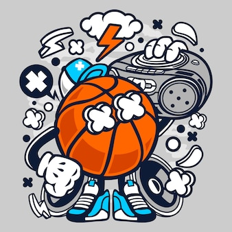 Basketball boombox beat cartoon