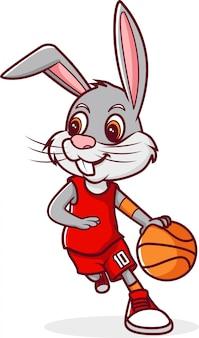 Basketball dribble de lapin, personnage de dessin animé