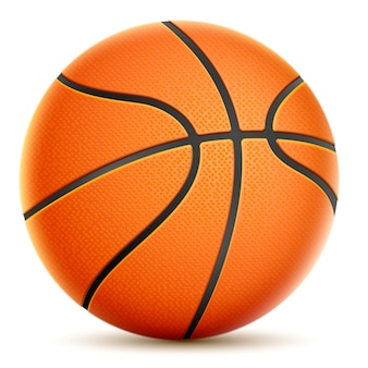 Basketball isolé sur blanc orange.