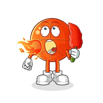 Basketball mange la mascotte de piment chaud. dessin animé