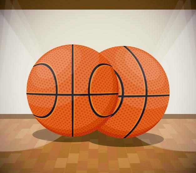 Basketball sport dessin animé paysage de jeu