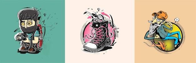 Baskets hipster en illustration de mode vectorielle graphique dessinés à la main