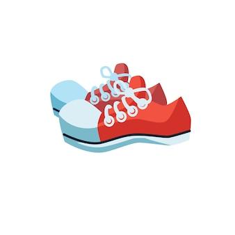 Baskets à la mode à plat de dessin animé de vecteur. nouvelles belles chaussures à la mode isolées sur un magasin de chaussures de fond-vêtements vide, concept de magasinage et de mode, conception d'annonce de bannière de site web