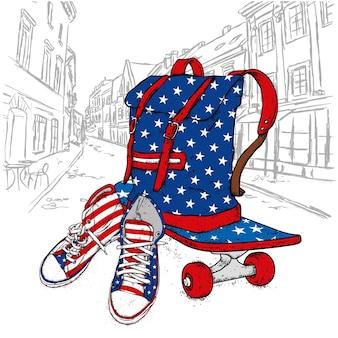 Baskets et skateboard élégants