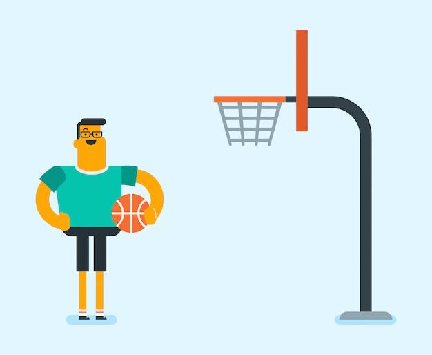 Basketteur caucasien, debout, sur, les, cour
