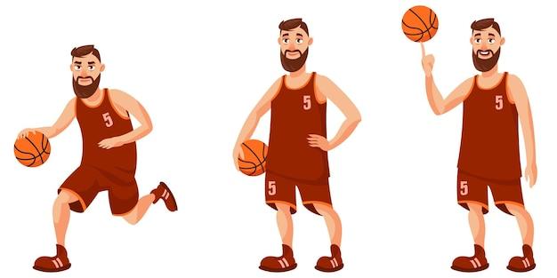 Basketteur dans différentes poses. personne de sexe masculin en style cartoon.