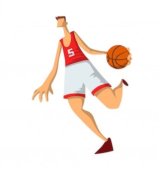 Basketteur dans un style abstrait. homme jouant avec un ballon de basket. illustration sur fond blanc.