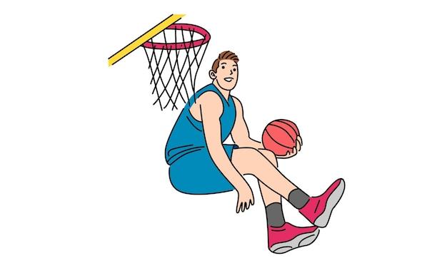 Basketteur Dunking Vecteur Premium