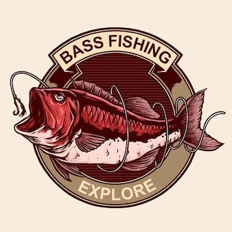 Bass fish avec crochet pour la pêche d'insigne d'emblème de logo vintage