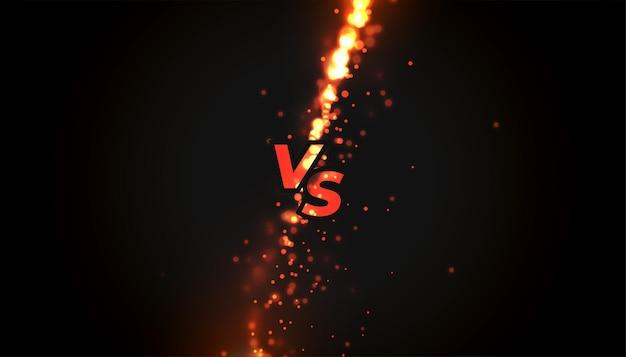 Bataille contre vs bannière ou arrière-plan de comparaison de produits avec des étincelles