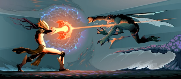 Bataille entre elfe magicien et monstre reptilien