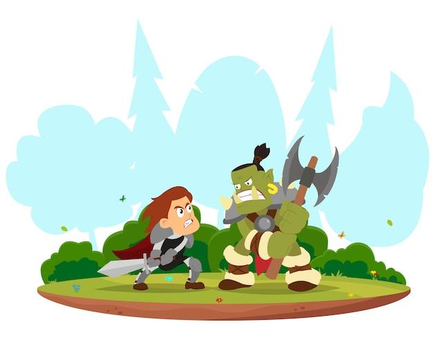 Bataille fantastique entre le chevalier et l'orc.