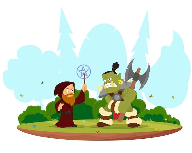 Bataille fantastique entre le magicien et l'orc.