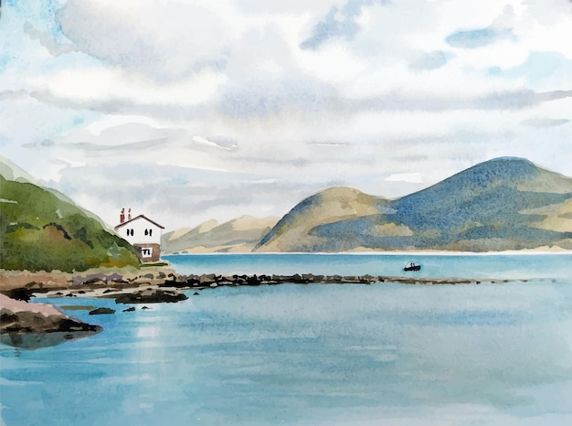 Bateau aquarelle sur l'illustration de la mer