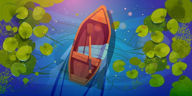 Bateau en bois sur la vue de dessus du lac, skiff avec pagaie et foulard en soie sur étang sauvage avec nenuphars ou nénuphars.