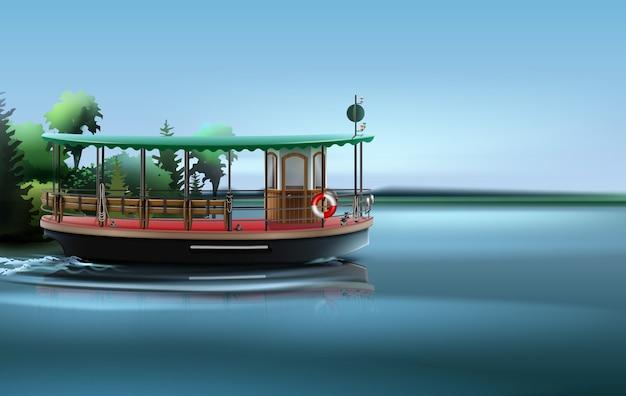 Bateau-bus dans un style rétro sur l'eau. isolé sur fond de paysage