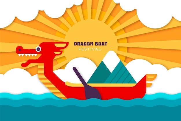 Bateau dragon en arrière-plan de style papier