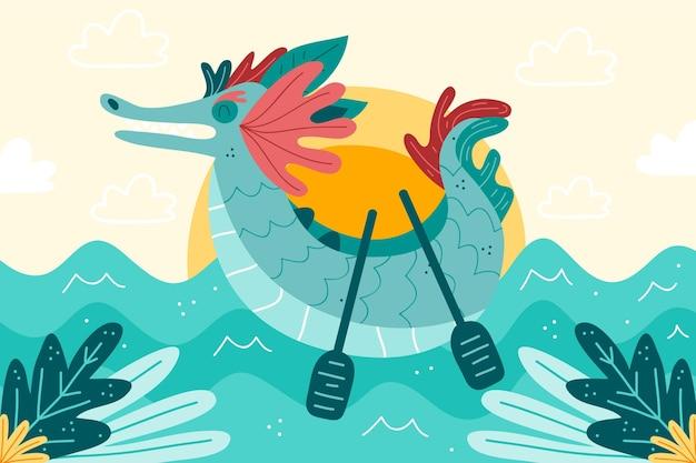 Bateau dragon fond dessiné à la main