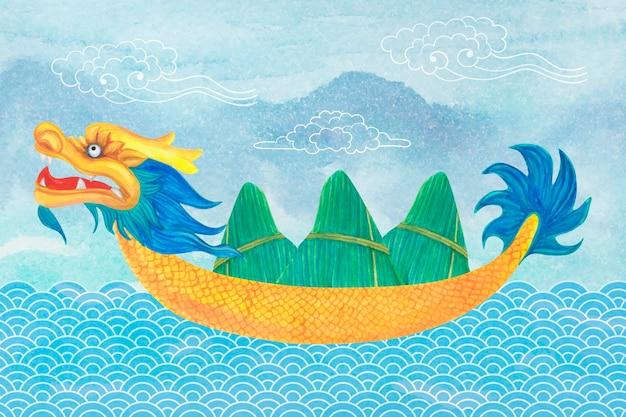 Bateau dragon transportant des boulettes de zongzi