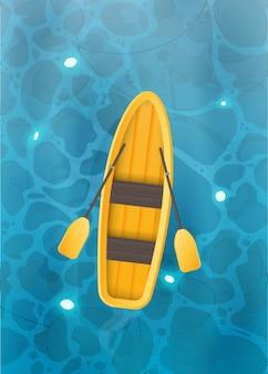 Bateau jaune avec rames