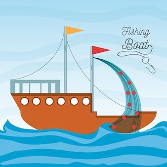 Bateau sur la mer avec filet de pêche
