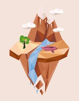 Bateau et montagnes