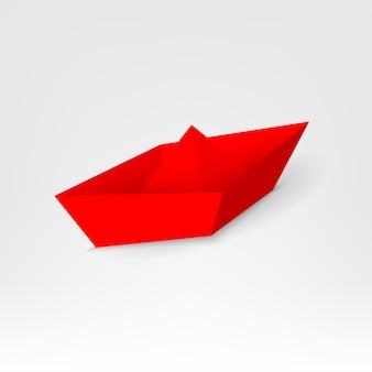 Bateau en papier rouge de leadership, le navire menant parmi.