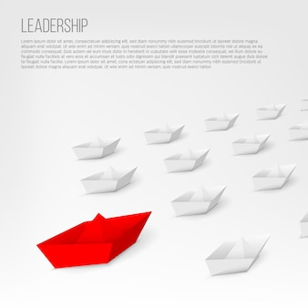 Bateau en papier rouge de leadership