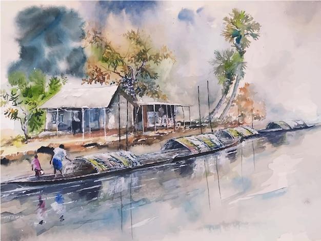 Bateau de paysage aquarelle sur la rivière