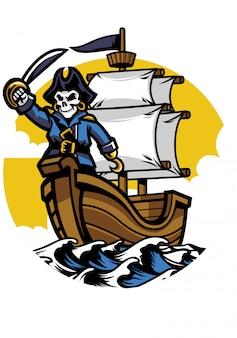 Bateau pirate avec crâne de pirate