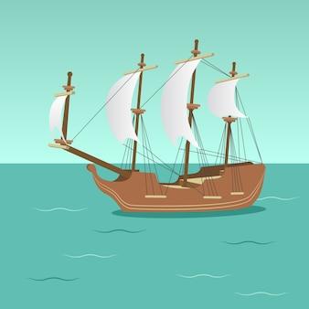 Bateau de pirate dans le vecteur de la mer