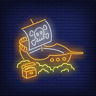 Bateau pirate avec jolly roger et enseigne au néon en or