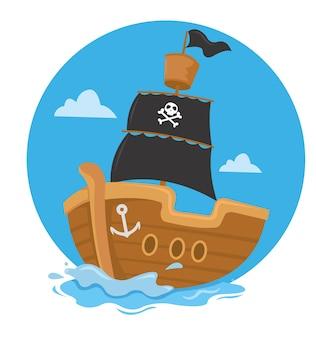 Bateau pirate naviguant avec drapeau noir