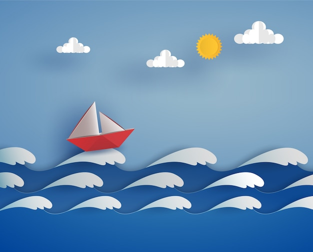 Bateau rouge en origami dans l'océan sur la vague de la mer. conception d'illustrateur de vecteur dans le concept de papier découpé.