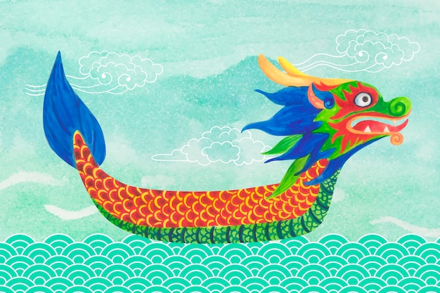 Bateau avec tête de dragon colorée