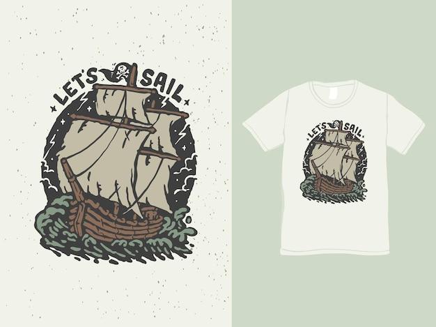 Le bateau vintage navigue autour de l'illustration de l'océan