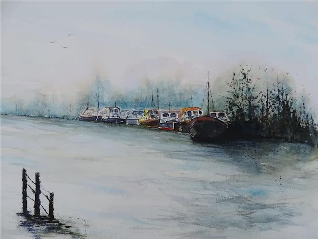 Bateau à voile aquarelle dessiné à la main sur la mer belle illustration de la nature