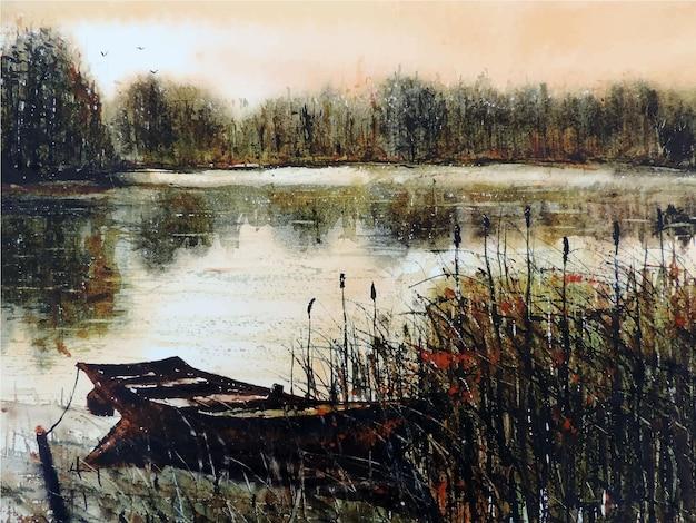 Bateau à voile aquarelle dessiné à la main sur la rivière belle illustration de la nature
