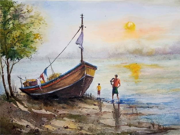 Bateau à voile aquarelle sur l'illustration de paysage fluvial vecteur premium