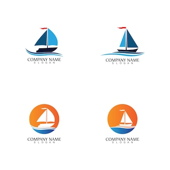 Bateau à voile, croisières quotidiennes, voyages en mer, icône du logo vectoriel