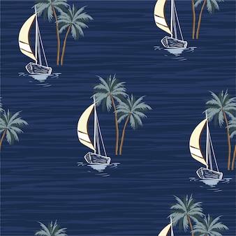Bateau à voile d'été dessiné à la main avec palmiers isaland seamless pattern